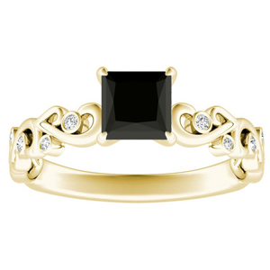 DAISY  Black  Diamond  Engagement  Ring  In  14K  Yellow  Gold  With  1.00  Carat  Princess  Diamond