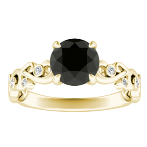 DAISY  Black  Diamond  Engagement  Ring  In  14K  Yellow  Gold  With  1.00  Carat  Round  Diamond