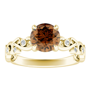 DAISY  Brown  Diamond  Engagement  Ring  In  14K  Yellow  Gold  With  0.50  Carat  Round  Diamond