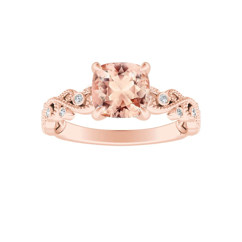 LILA Morganite Engagement Ring In 14K Rose Gold With 1.00 Carat Cushion Stone