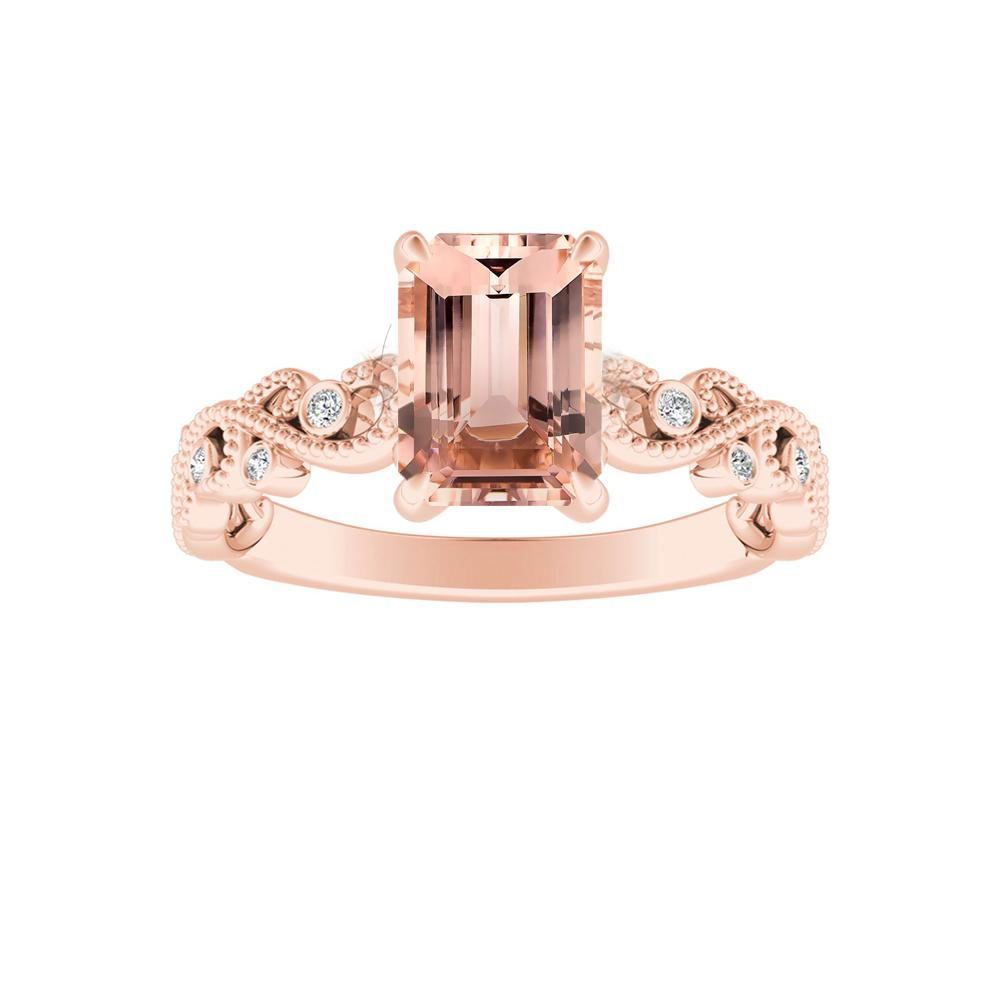 LILA Morganite Engagement Ring In 14K Rose Gold With 1.00 Carat Emerald Stone