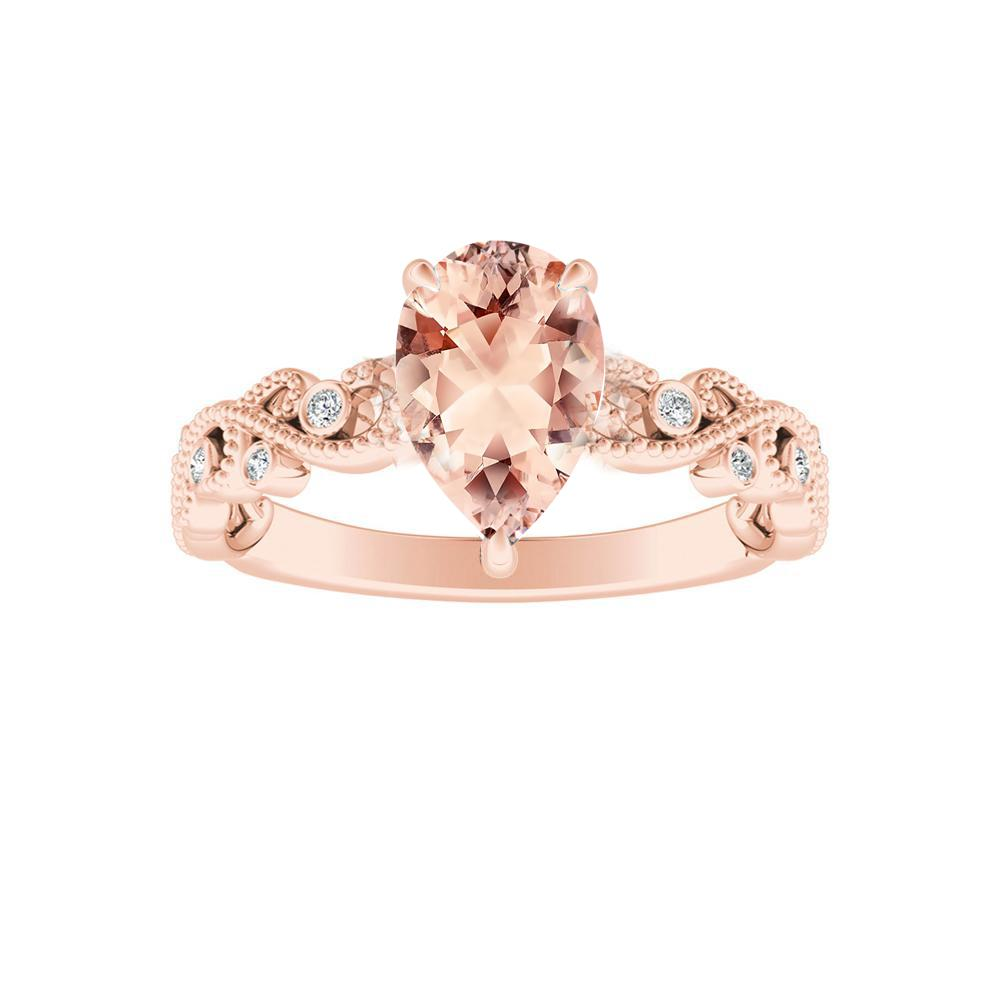 Lila Morganite Engagement Ring In 14k Rose Gold With 1 00 Carat Pear