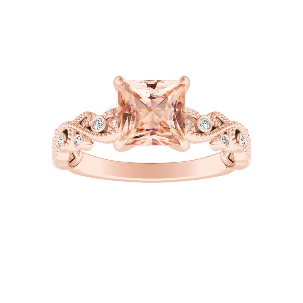 LILA Morganite Engagement Ring In 14K Rose Gold With 1.00 Carat Princess Stone