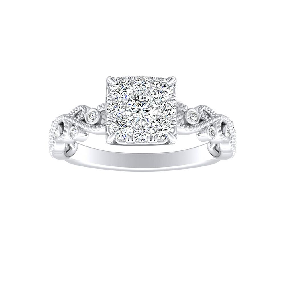 LILA Diamond Engagement Ring In 14K White Gold With Cushion Diamond In H-I SI1-SI2 Quality