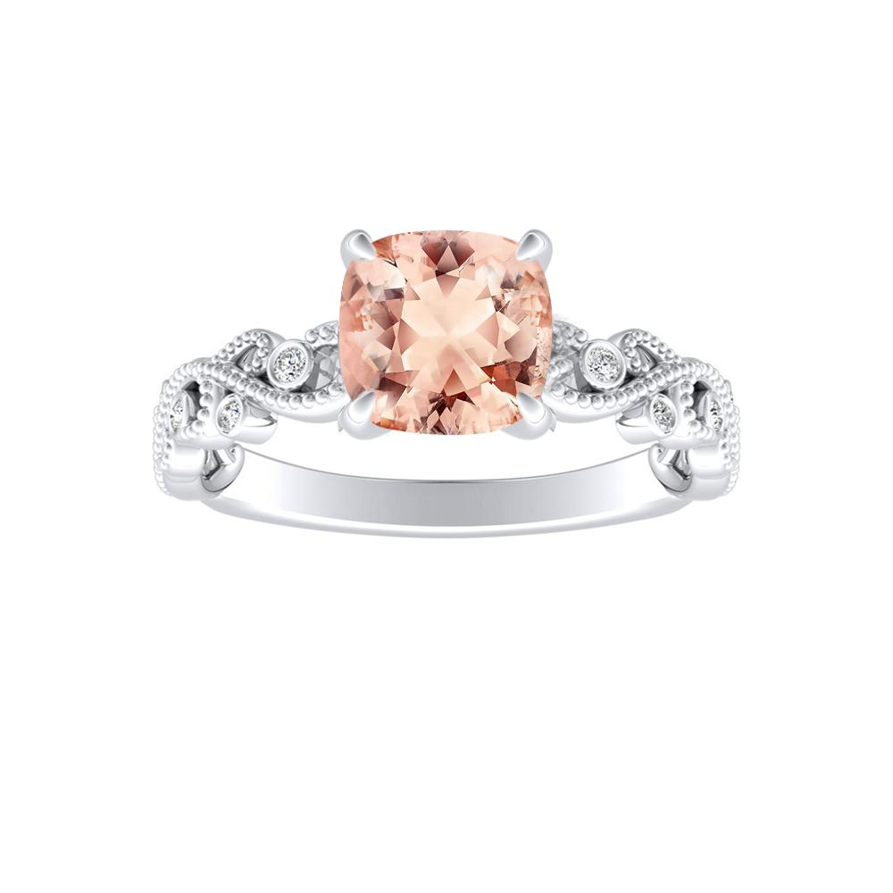 LILA Morganite Engagement Ring In 14K White Gold With 1.00 Carat Cushion Stone