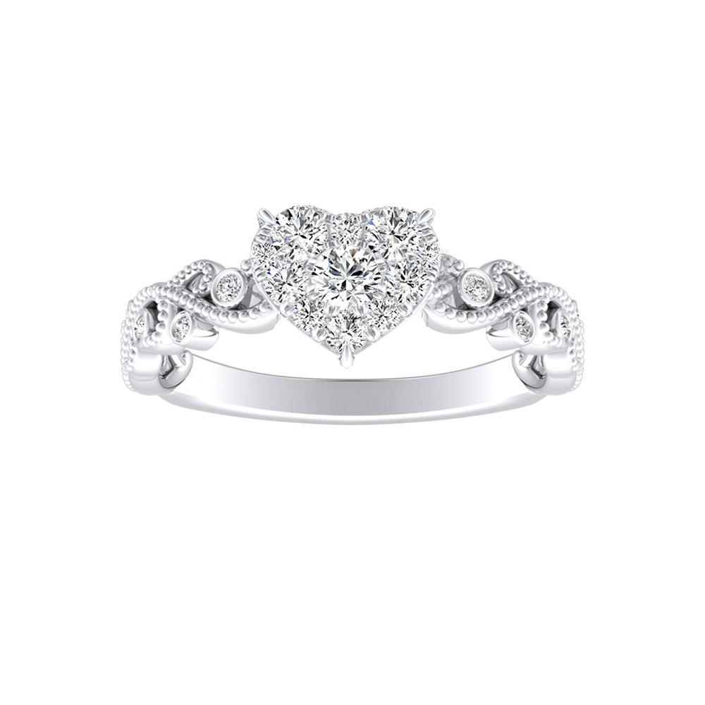 LILA Diamond Engagement Ring In 14K White Gold With Heart Diamond In H-I SI1-SI2 Quality