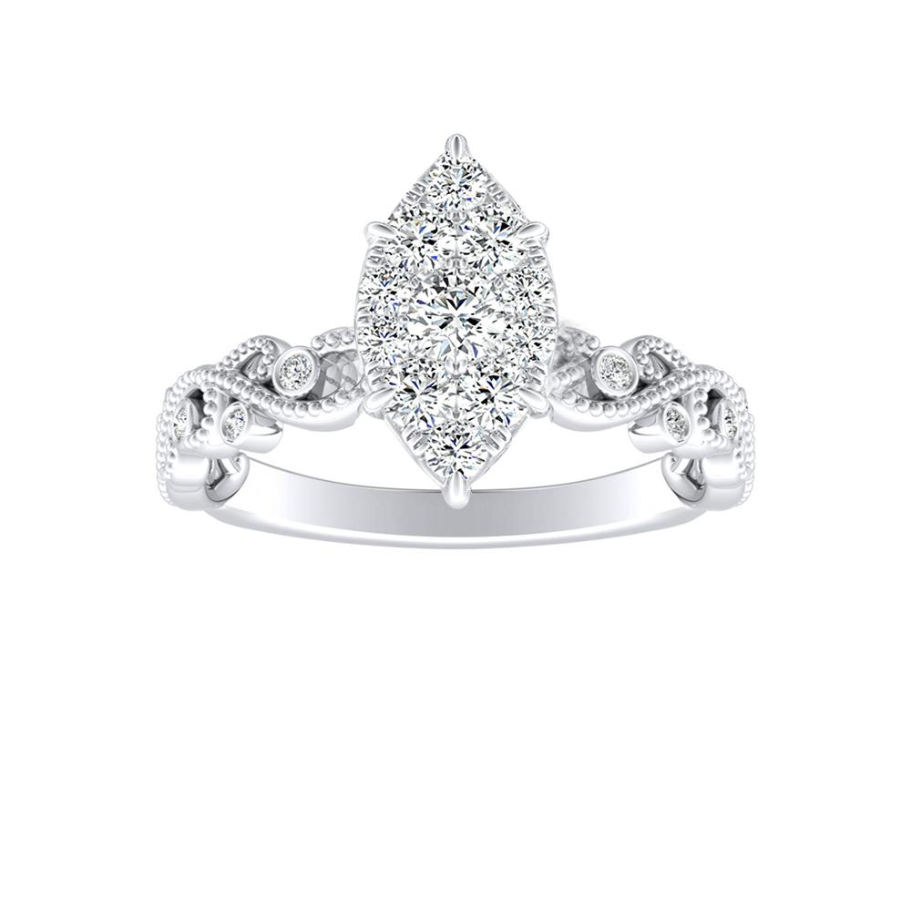 LILA Diamond Engagement Ring In 14K White Gold With Marquise Diamond In H-I SI1-SI2 Quality