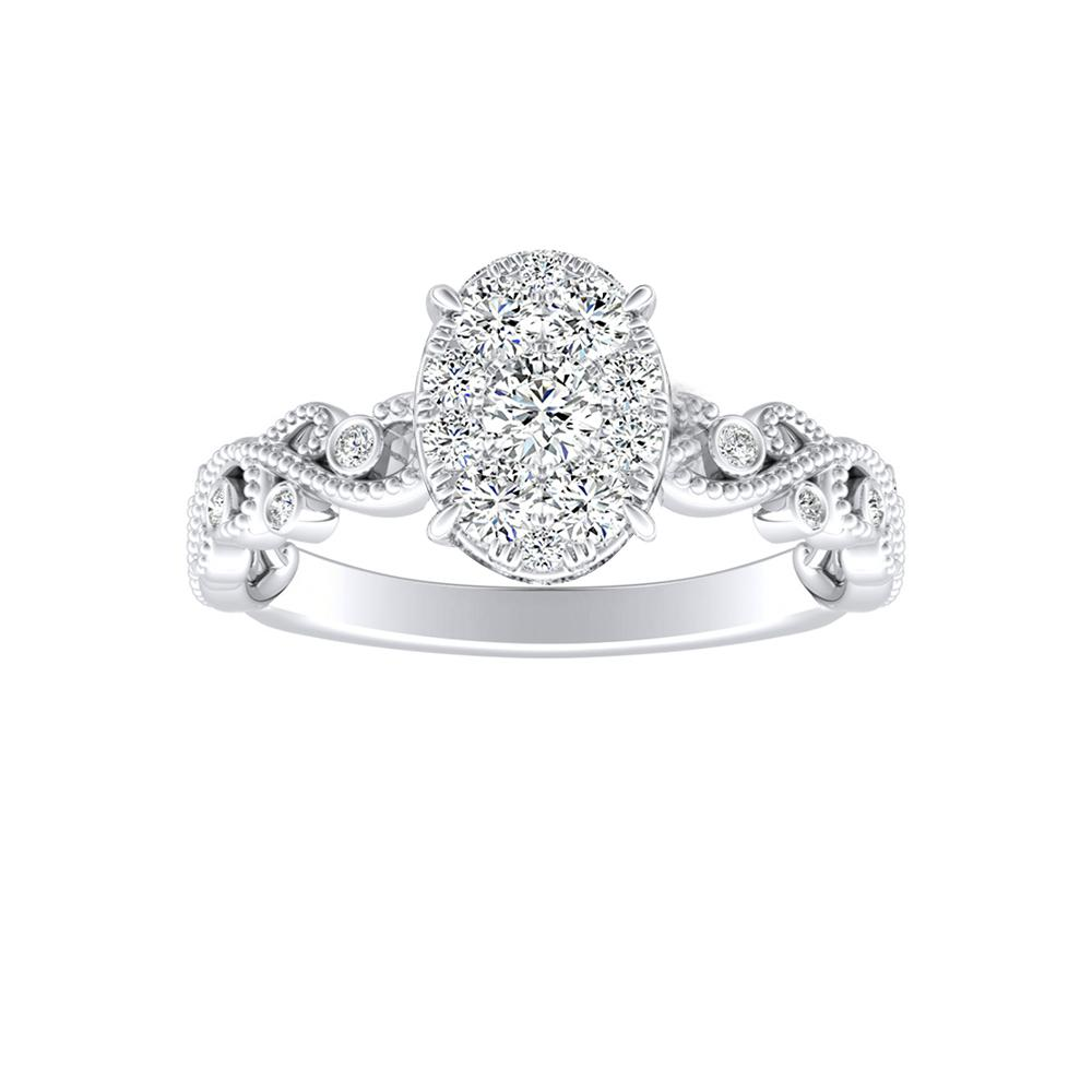 LILA Diamond Engagement Ring In 14K White Gold With Oval Diamond In H-I SI1-SI2 Quality