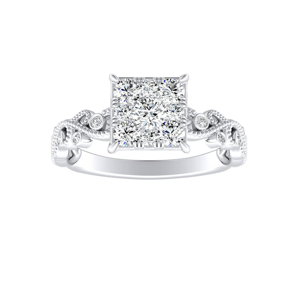 LILA Diamond Engagement Ring In 14K White Gold With Princess Diamond In H-I SI1-SI2 Quality