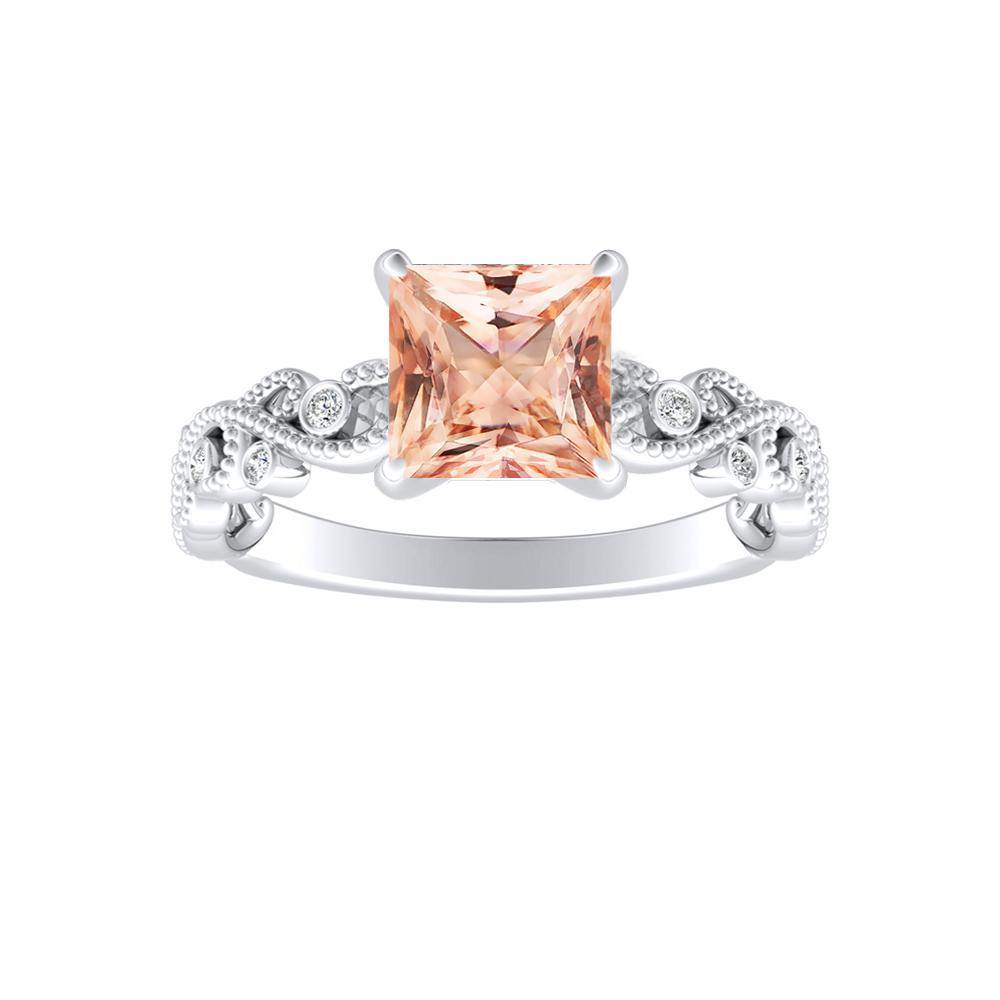 LILA Morganite Engagement Ring In 14K White Gold With 1.00 Carat Princess Stone