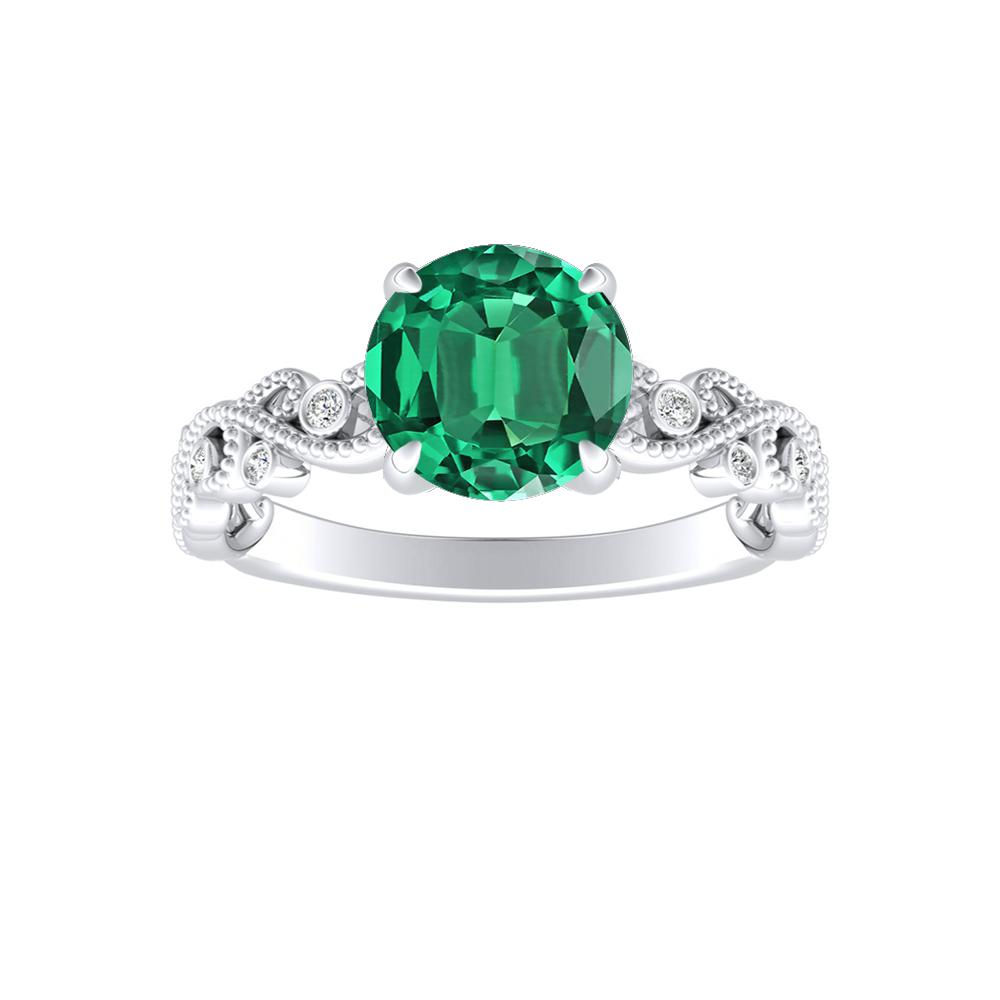 LILA Green Emerald Engagement Ring In 14K White Gold With 0.30 Carat Round Stone