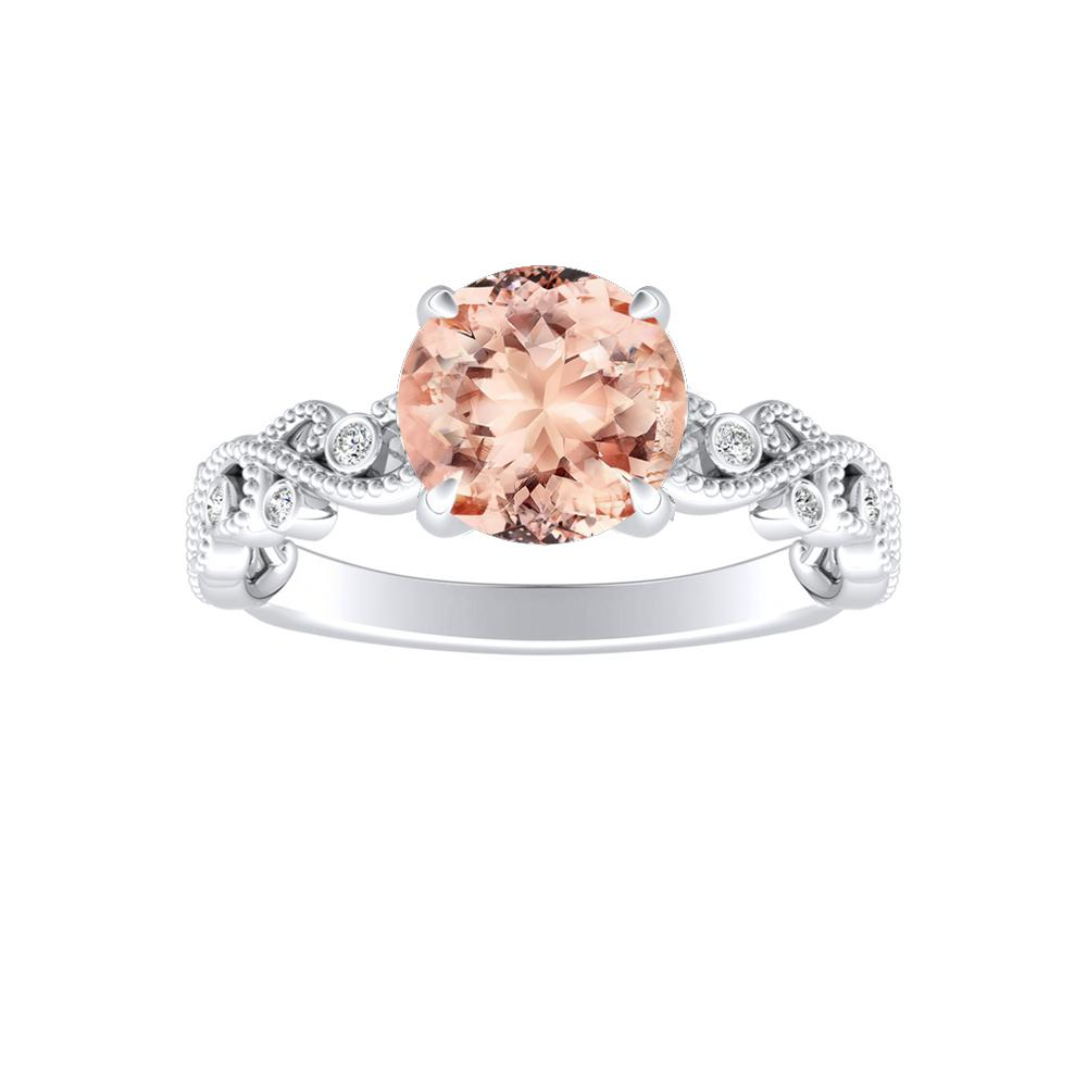 LILA Morganite Engagement Ring In 14K White Gold With 1.00 Carat Round Stone