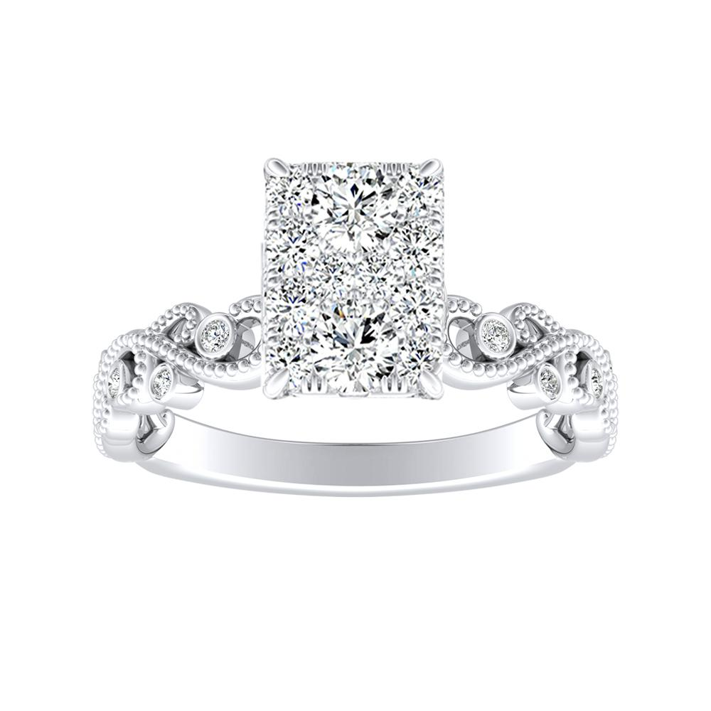 LILA Diamond Engagement Ring In 14K White Gold With Radiant Diamond In H-I SI1-SI2 Quality