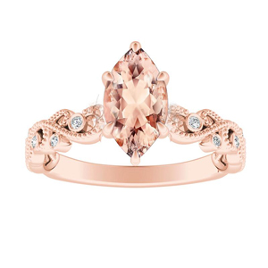 LILA  Morganite  Engagement  Ring  In  14K  Rose  Gold  With  1.00  Carat  Marquise  Stone