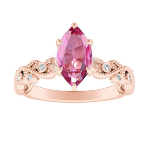 LILA  Pink  Sapphire  Engagement  Ring  In  14K  Rose  Gold  With  0.50  Carat  Marquise  Stone