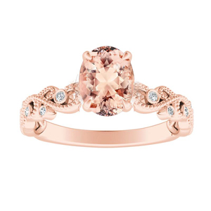 LILA Morganite Engagement Ring In 14K Rose Gold With 1.00 Carat Oval Stone