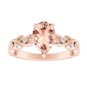 LILA  Morganite  Engagement  Ring  In  14K  Rose  Gold  With  1.00  Carat  Pear  Stone