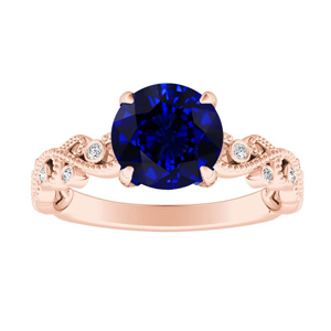 LILA Blue Sapphire Engagement Ring In 14K Rose Gold With 0.50 Carat Round Stone