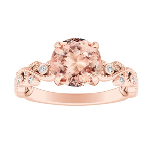 LILA  Morganite  Engagement  Ring  In  14K  Rose  Gold  With  1.00  Carat  Round  Stone