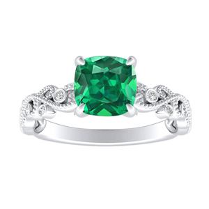 LILA  Green  Emerald  Engagement  Ring  In  14K  White  Gold  With  0.50  Carat  Cushion  Stone