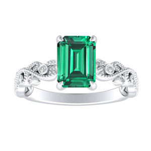 LILA  Green  Emerald  Engagement  Ring  In  14K  White  Gold  With  0.50  Carat  Emerald  Stone