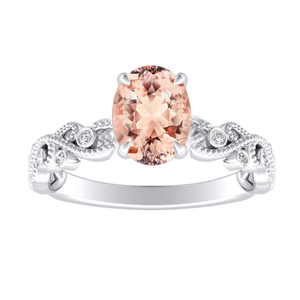 LILA  Morganite  Engagement  Ring  In  14K  White  Gold  With  1.00  Carat  Oval  Stone