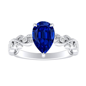 LILA  Blue  Sapphire  Engagement  Ring  In  14K  White  Gold  With  0.50  Carat  Pear  Stone