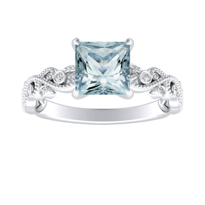 LILA Aquamarine Engagement Ring In 14K White Gold With 1.00 Carat Princess Stone