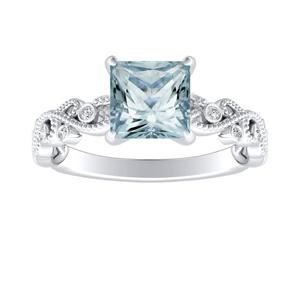 LILA Aquamarine Engagement Ring In 14K White Gold With 1.00 Carat Princess Stone