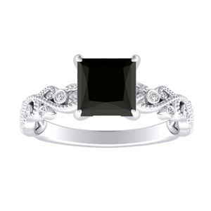 LILA  Black  Diamond  Engagement  Ring  In  14K  White  Gold  With  1.00  Carat  Princess  Diamond