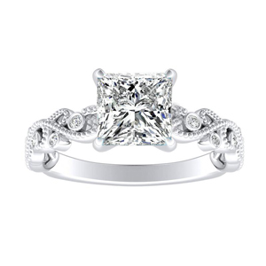 LILA Floral Diamond Engagement Ring In 14K White Gold