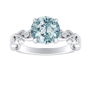 LILA Aquamarine Engagement Ring In 14K White Gold With 1.00 Carat Round Stone
