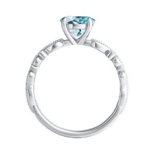 LILA  Aquamarine  Engagement  Ring  In  14K  White  Gold  With  1.00  Carat  Round  Stone