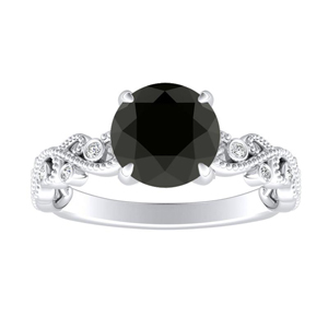 LILA  Black  Diamond  Engagement  Ring  In  14K  White  Gold  With  1.00  Carat  Round  Diamond