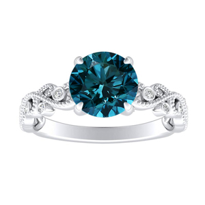 LILA Blue Diamond Engagement Ring In 14K White Gold With 0.30 Carat Round Diamond