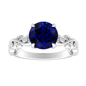 LILA  Blue  Sapphire  Engagement  Ring  In  14K  White  Gold  With  0.50  Carat  Round  Stone