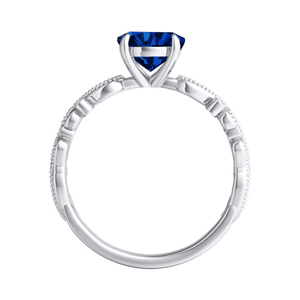 LILA Blue Sapphire Engagement Ring In 14K White Gold With 0.30 Carat Round Stone