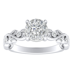 LILA Diamond Engagement Ring In 14K White Gold With Round Diamond In H-I SI1-SI2 Quality