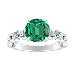 LILA Green Emerald Engagement Ring In 14K White Gold With 0.50 Carat Round Stone