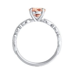 LILA  Morganite  Engagement  Ring  In  14K  White  Gold  With  1.00  Carat  Emerald  Stone