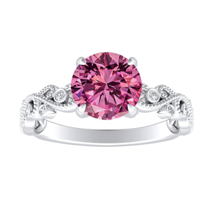 LILA Pink Sapphire Engagement Ring In 14K White Gold With 0.30 Carat Round Stone