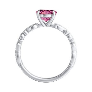 LILA  Pink  Sapphire  Wedding  Ring  Set  In  14K  White  Gold  With  0.50  Carat  Round  Stone