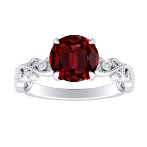 LILA Ruby Engagement Ring In 14K White Gold With 0.30 Carat Round Stone