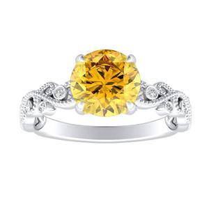 LILA  Yellow  Diamond  Engagement  Ring  In  14K  White  Gold  With  0.50  Carat  Round  Diamond