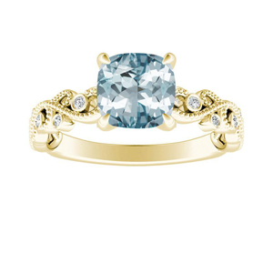 LILA  Aquamarine  Engagement  Ring  In  14K  Yellow  Gold  With  1.00  Carat  Cushion  Stone