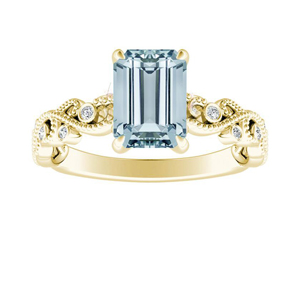 LILA  Aquamarine  Engagement  Ring  In  14K  Yellow  Gold  With  1.00  Carat  Emerald  Stone