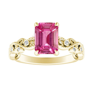 LILA Pink Sapphire Engagement Ring In 14K Yellow Gold With 0.50 Carat Emerald Stone