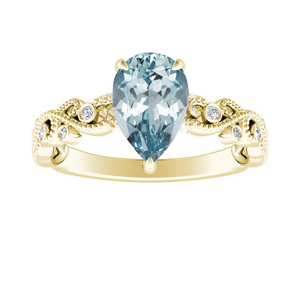 LILA  Aquamarine  Engagement  Ring  In  14K  Yellow  Gold  With  1.00  Carat  Pear  Stone