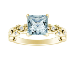 LILA  Aquamarine  Engagement  Ring  In  14K  Yellow  Gold  With  1.00  Carat  Princess  Stone