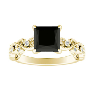 LILA Black Diamond Engagement Ring In 14K Yellow Gold With 1.00 Carat Princess Diamond